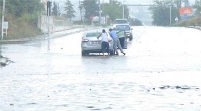 Tekirdağ'da Şiddetli Yağış Etkili Oldu